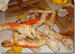 caranguejo Alaskan king crab no The Crab Pont em Seattle 2009 nos EUA
